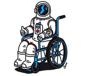 Dessin. Un astronaute en fauteuil roulant lève le pouce